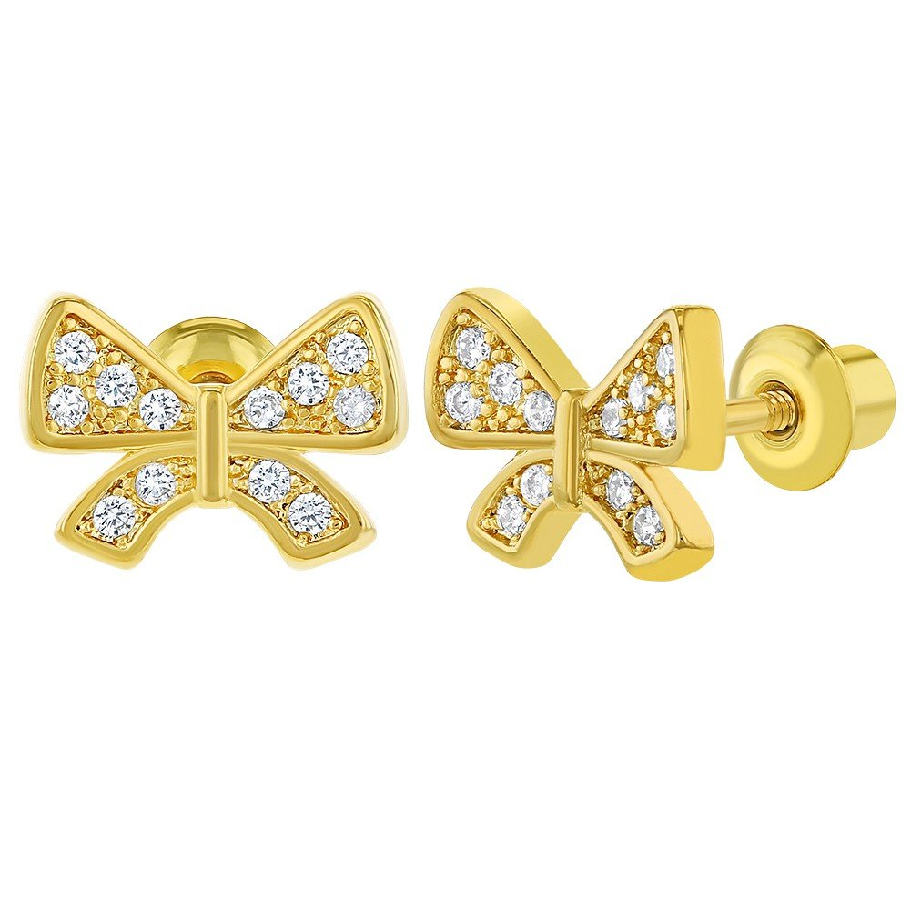 18k Gold Plated Micro Pave White Crystal Screw Back Bow Girls Kids Earrings 10mm In Season Jewelry 03-0490
