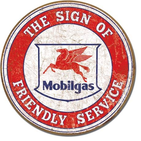 The Finest Website Inc. Mobil Mobilgas Round Sign 11.75 inches in Diameter (D2025) Weathered Appearance Advertising Tin - Ford Round Tin Trucks Sign