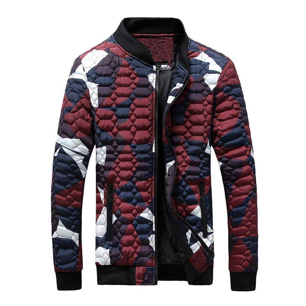 Youngh Mens Jacket Large Size Camouflage Slim Fit Zippe Fashion Winter Coat Outwear with Pockets