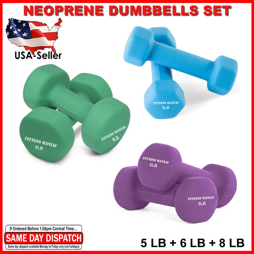 FITNESS MANIAC Men Women Weightlifting Exercise Neoprene Dumbbells Set Aerobic Strength Home Gym Training Workout Yoga Fitness Body Stength Muscle Tone Bodybuilding Weight 5LB + 6LB + 8LB PAIRS