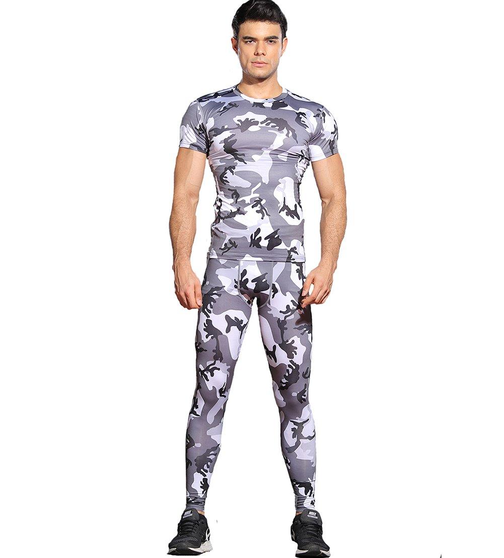 Findci Men Sports Camo Print Set Quick Dry Running Football Short Sleeve T-Shirt + Long Leggings
