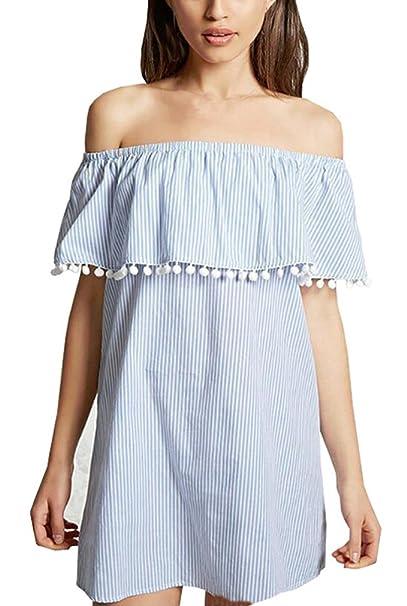 ... Descubiertos Barco Cuello Sueltos Juveniles Dresses Señoras Moderno Fashion Estilo Dulce Mini Vestido Vestidos Informales: Amazon.es: Ropa y accesorios