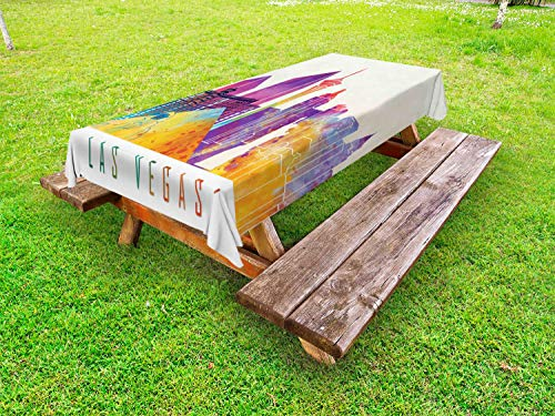 Ambesonne Las Vegas Outdoor Tablecloth, Colorful Landmarks in Las Vegas Pyramid and of Liberty in Watercolors, Decorative Washable Picnic Table Cloth, 58
