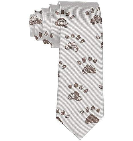 Corbata flaca de hombre Huellas de perro Corbata de seda estampada ...