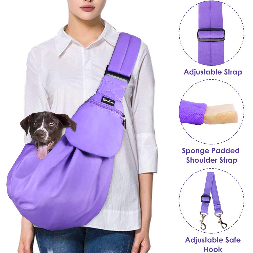 SlowTon Pet Carrier, Hand Free Sling Adjustable Padded Strap Tote Bag Breathable Cotton Shoulder Bag Front Pocket Safety Belt Carrying Small Dog Cat Puppy Machine Washable (Purple)