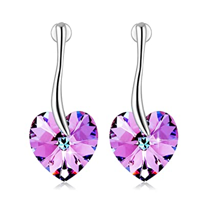 adc8f65fab66c4 PLATO H Purple Heart Hoop Earrings for Women with Crystal from Swarovski,  Color Changing Crystal