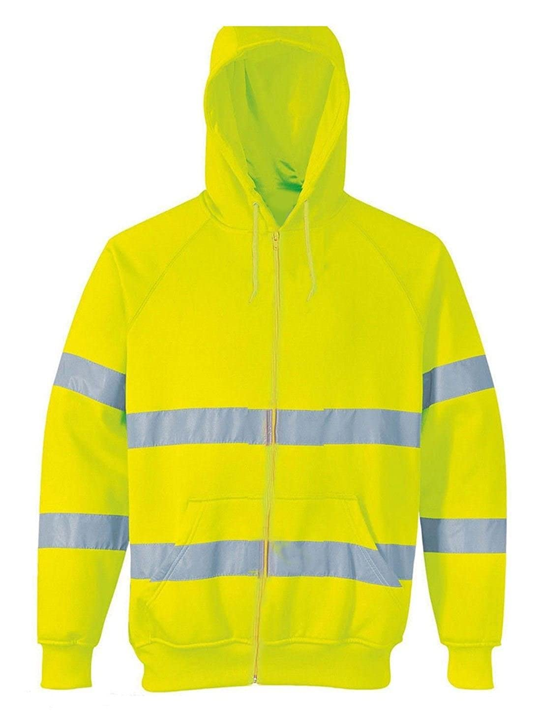 FASHION FAIRIES Mens Hi VIS High Visibility Zip Up Hooded Hoodie Jacket Boys Reflective Trouser