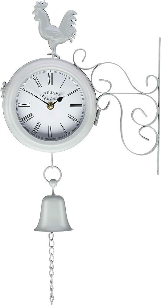 Wyegate - Reloj de Pared para jardín, Doble Cara, termómetro 2 en 1, estación meteorológica, Grey Rooster: Amazon.es: Jardín