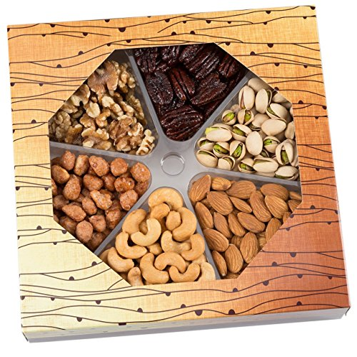 Valentines Day Gifts for Him Nuts Gift Basket, 6 Different Fresh & Gourmet Nuts Prime Food Assortment Baskets - By CeeGees's Gourmet. (Fruit Baskets To Send)
