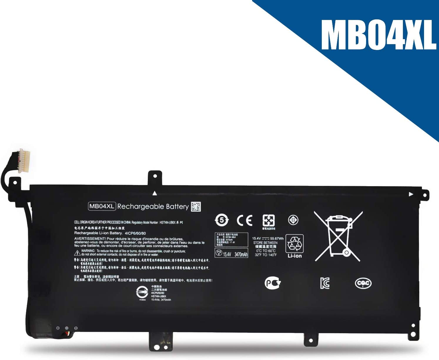 Emaks MB04XL Battery MBO4XL for HP Envy X360 15-AQ000 M6-AQ000 Series:m6-aq103dx m6-aq105dx m6-aq005dx m6-aq003dx m6-aq103dx 15-aq173cl 15-aq273cl 15-aq165nr 15-aq267cl 15-aq293ms -15.4V 55.67Wh 4-Cel