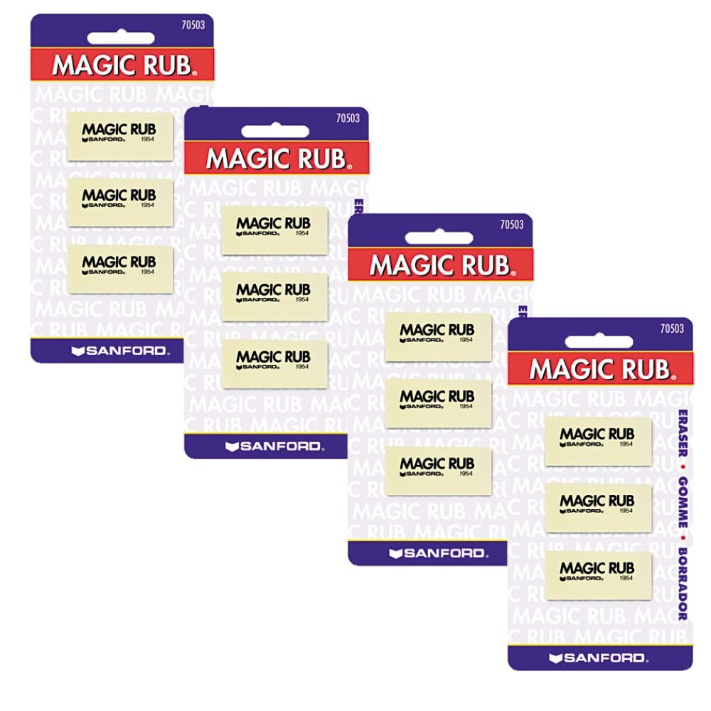 Prismacolor Premier Magic Rub Vinyl Erasers, 3-Count, Pack of 4