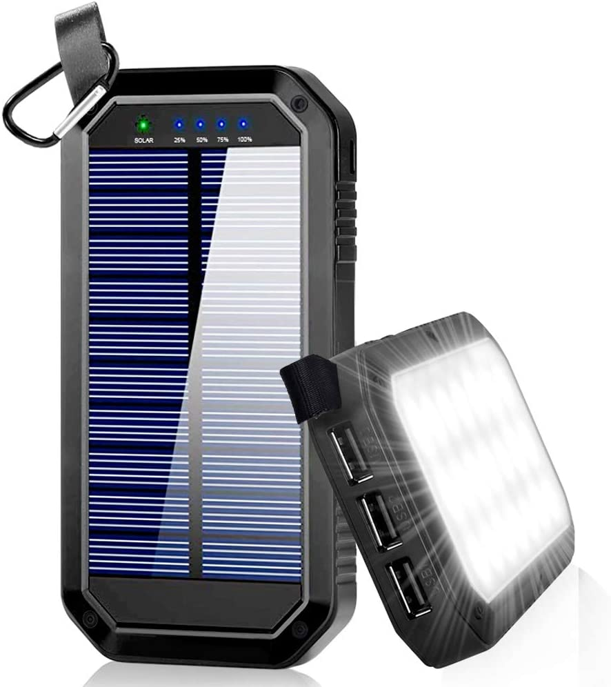 Ayyie Solar Charger, Portable Charger Power Bank with 3-USB Outports 21 LED Flashlights, 8000mAh Backup Battery Pack Phone Charger for Camping, Outdoor, Outside Activities