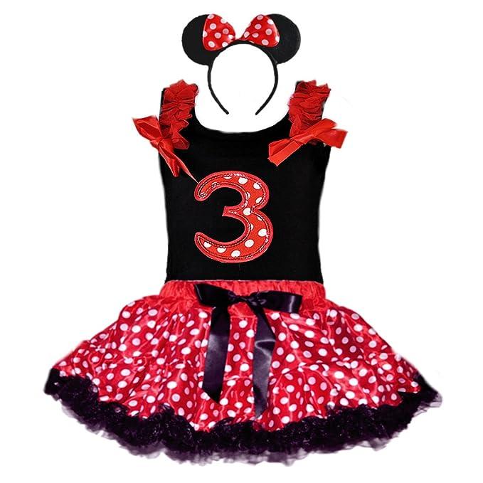 Birthday Girl's Polka Dot Tutu Sequin Age Number Tank-Top & Headband 3 Pcs Set