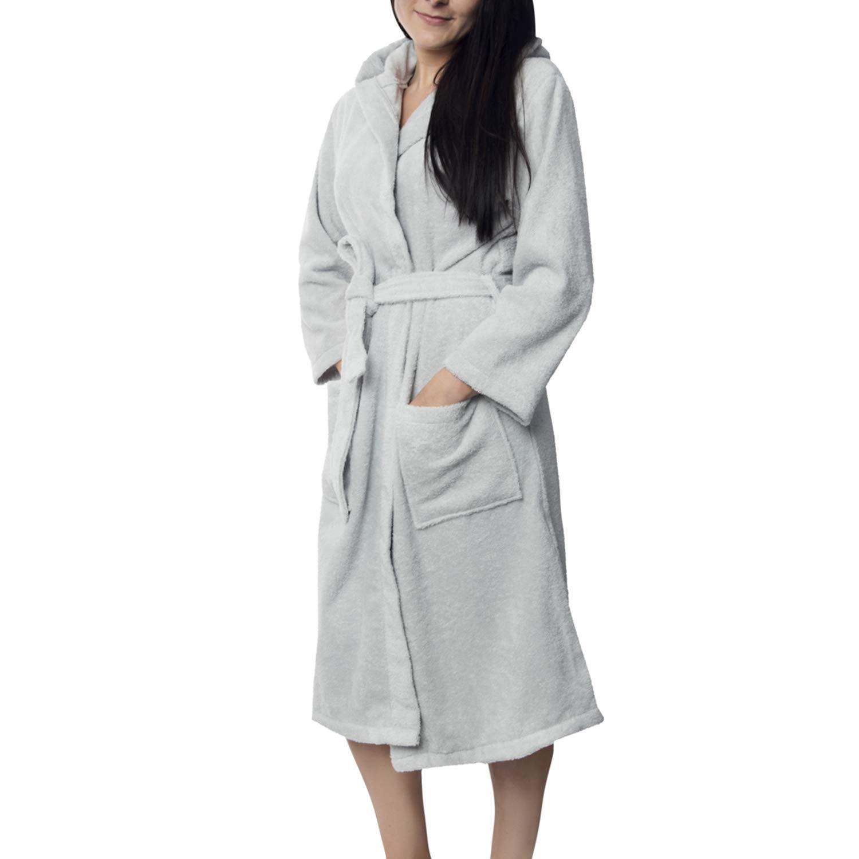 TALLA M. Twinzen Albornoz de Baño para Mujer con Capucha - 100% Algodón Certificado Oeko Tex - Bata Baño Mujer 2 Bolsillos, Cinturón y Cierre - Suave, Absorbente y Cómodo