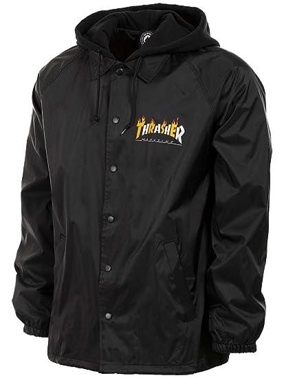 Amazon.com  Thrasher Flame Mag Coaches Jacket Black White Orange ... 1dbf0e8a7