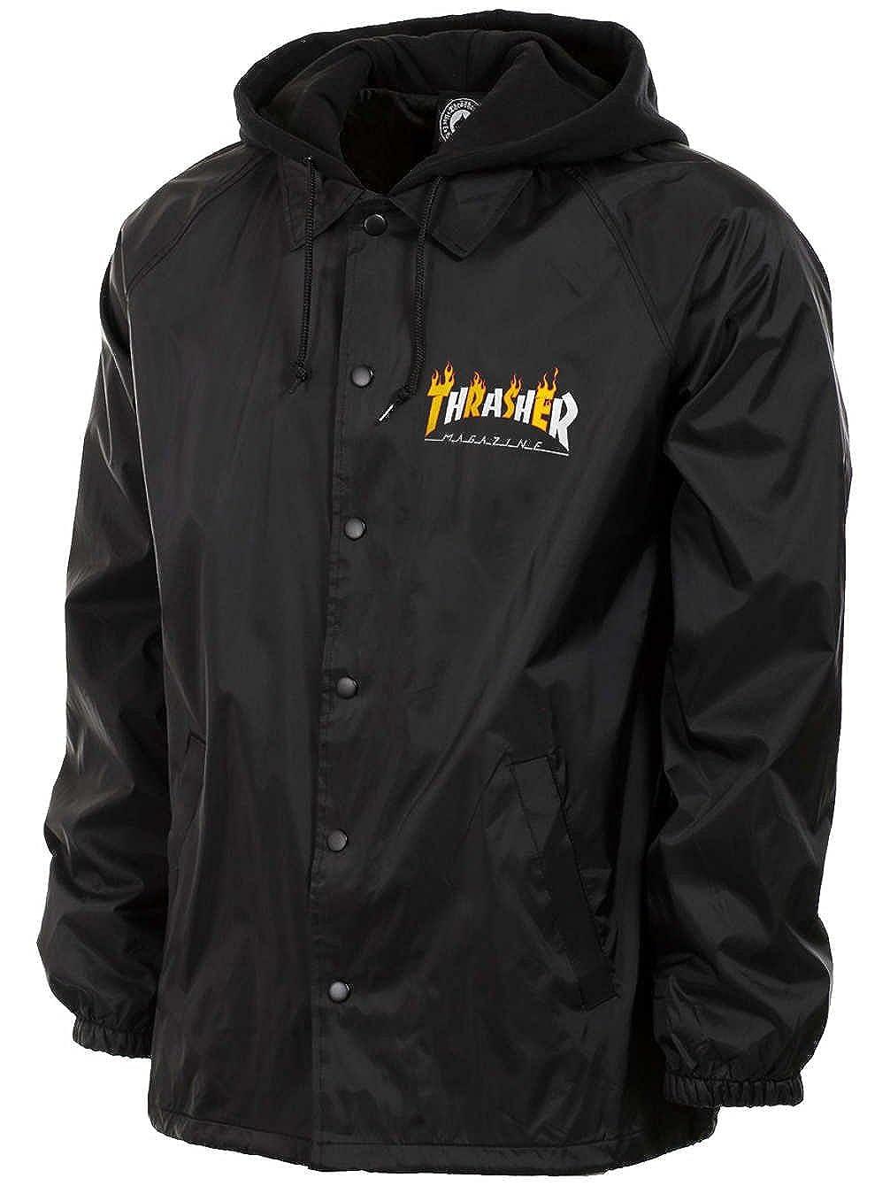 Thrasher Flame Mag Coaches Jacket Black White Orange