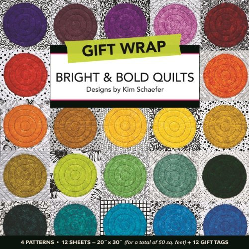 Bright & Bold Quilts Gift Wrap: 4 Patterns, 12 Sheets_20 ? 30 for a total of 50 sq. ft. + 12 Gift Tags - 1 Mall Sq