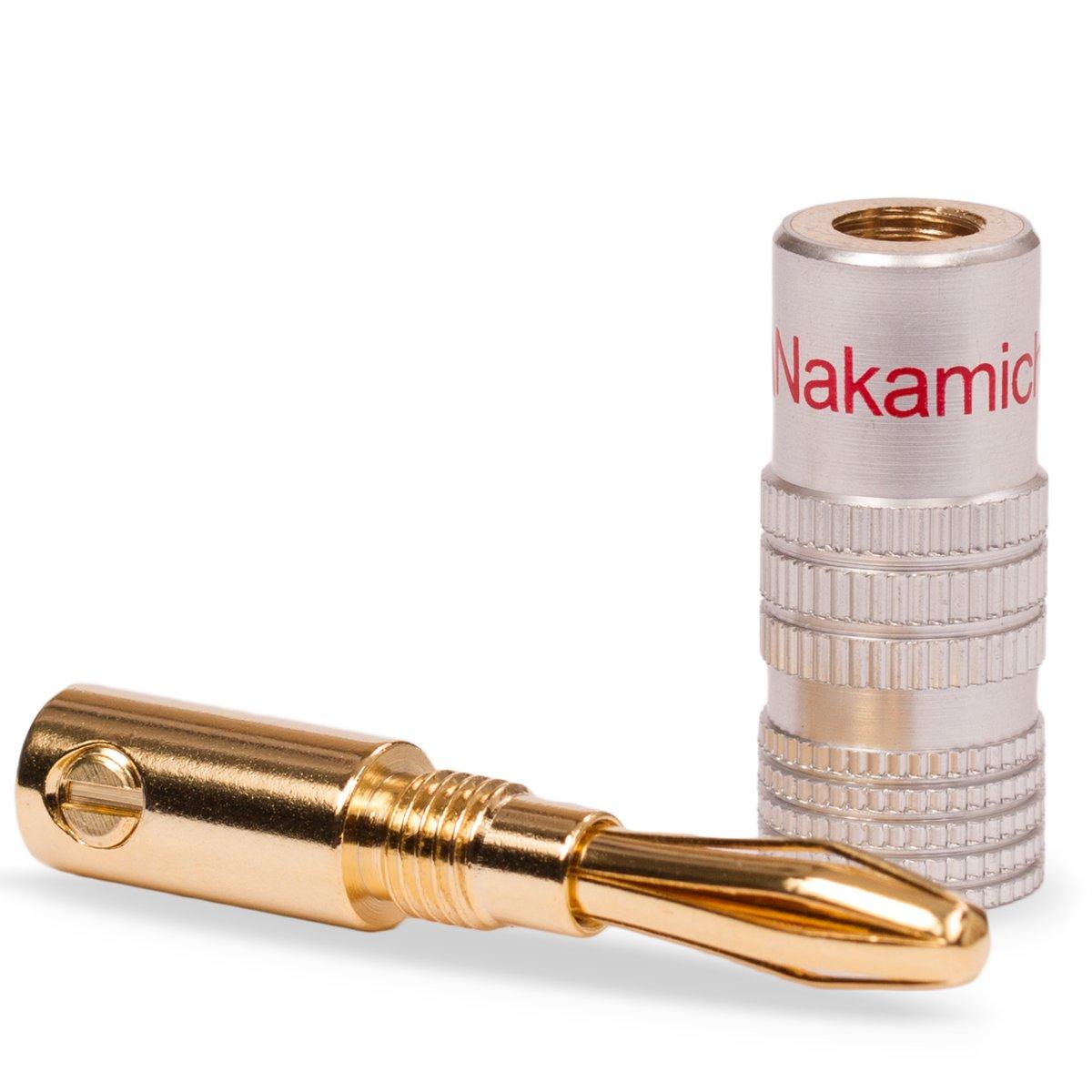 oder schraubbar vergoldet kein Plastik in schwarz und rot 14x High End Nakamichi Bananenstecker Bananas Banana f/ür Kabel bis 6mm/² 24K l/öt