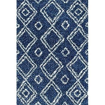 nuLOOM 4 X 6Cozy Soft and Plush Moroccan Trellis Iola Easy Shag Indoor Area Rug, Blue