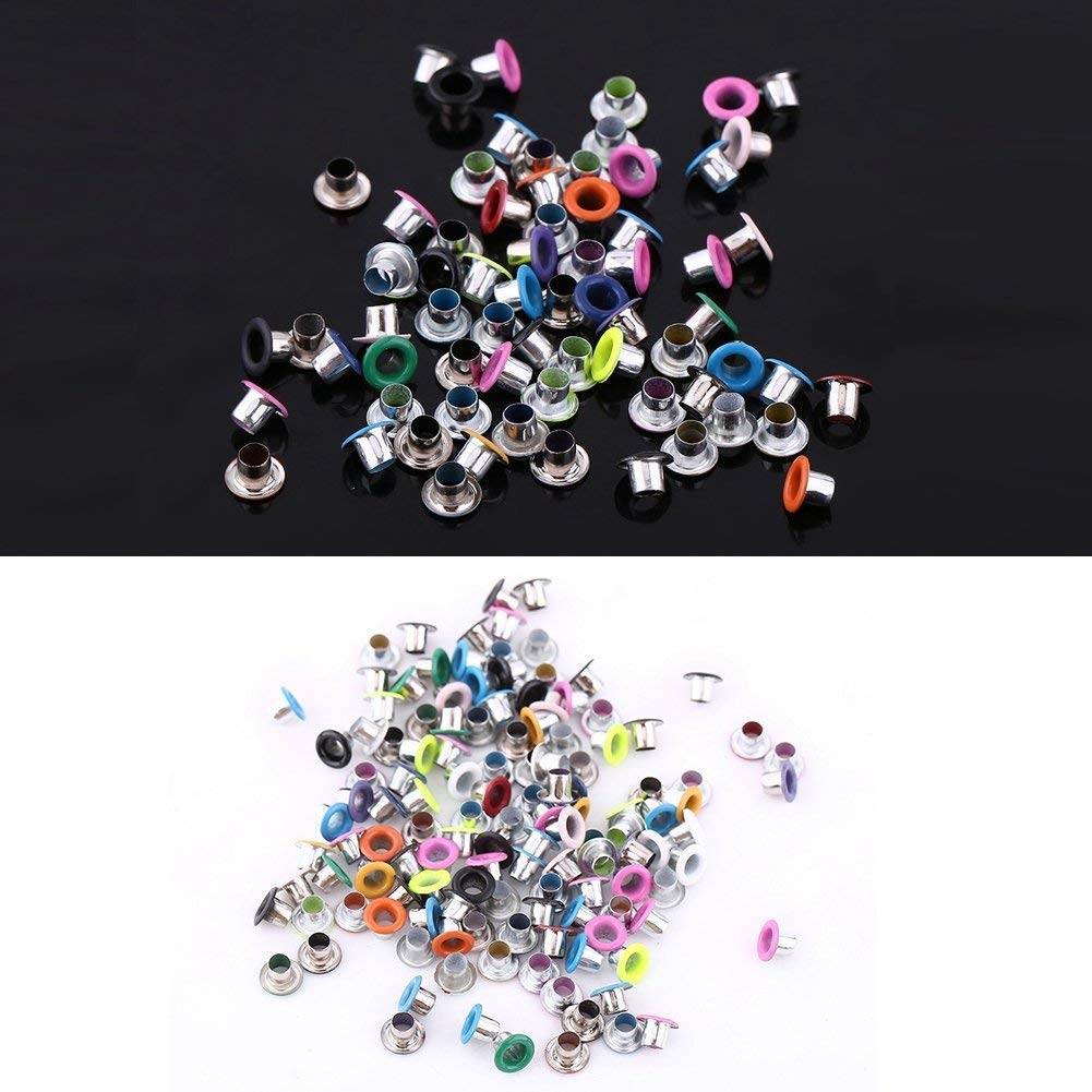 3mm Hole Glossy Mixed Color Eyelet Bulk for DIY Crafts Clothes Bags Shoes Fabrics /& Scrapbooking-500Pcs Leather
