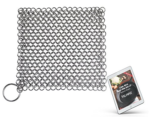 Cast Iron Cleaner by KitchWhiz, XL 8″x6″ Stainless Steel Steel Chainmail Scrubber to clean Cast Iron Skillet, Cast Iron Cookware, Griddle, Wok and Dutch Oven with free cast iron cookbook (E-Book)