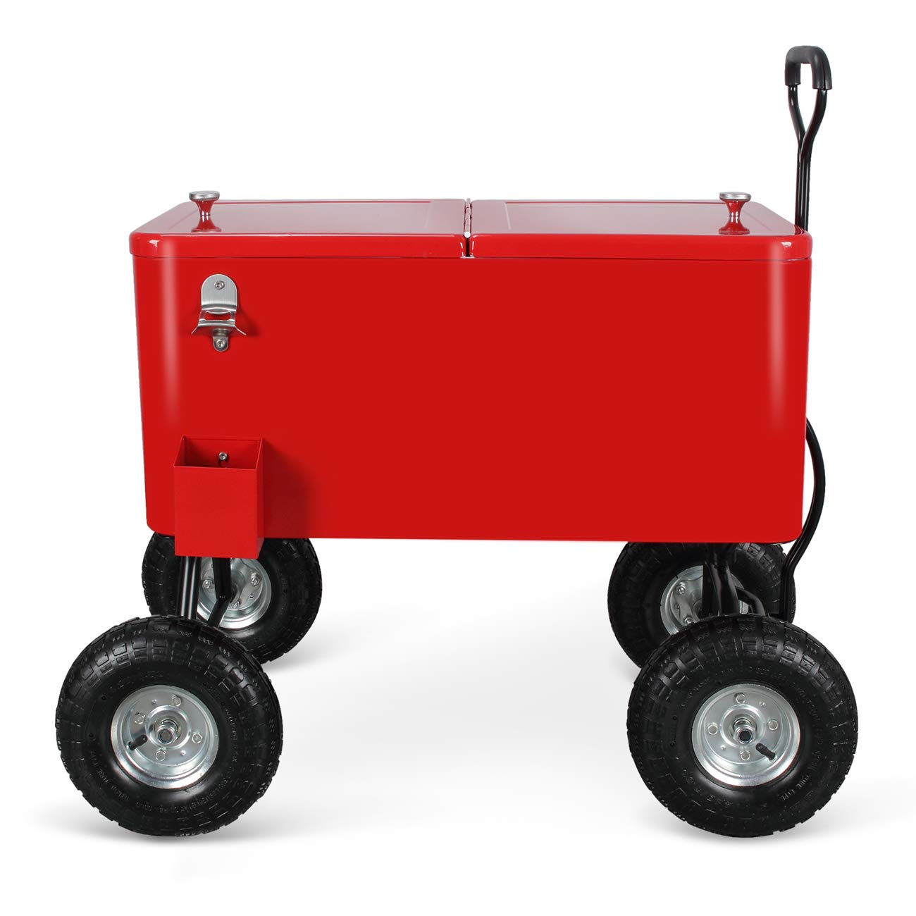 Belleze Outdoor 80 Qt Rolling Beverages Ice Chest Beach Party Patio Backyard Wagon w 10 Terrain Wheels, Red
