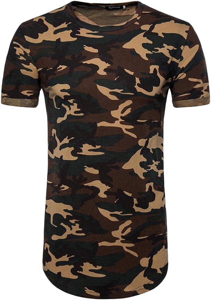 Hombre Deporte Transpirable Corta Manga Tops Camiseta Estilo Militar de Camuflaje T Shirts Café S: Amazon.es: Ropa y accesorios