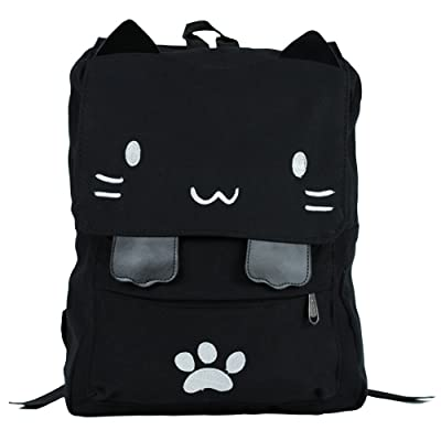 Amazon.com | Black College Cute Cat Embroidery Canvas School Laptop Backpack Bags For Women Kids Plus Size Japanese Cartoon Kitty Paw Schoolbag Ruchsack Girls Boys Outdoor Accessories Daypack Bookbag (01White) | Kids' Bac