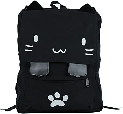 Details about  /Cat Canvas Backpack Cartoon Embroidery Backpacks For Teenage Girls School