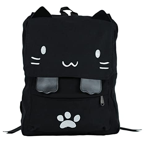 1f99d689ae Black College Cute Cat Embroidery Canvas School Laptop Backpack Bags For  Women Kids Plus Size Japanese
