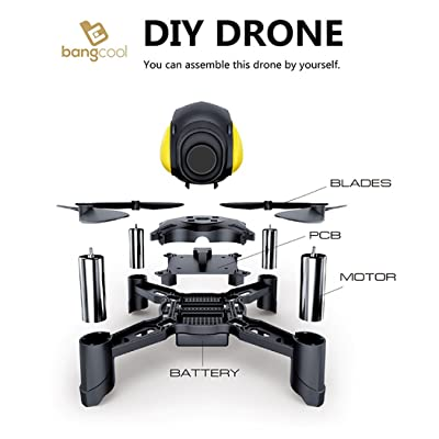 DIY Drone, Bangcool 2.4Ghz LED RC Drone Wifi Quadcopter Mini Pocket Racing Drone with Headless Mode & Altitude Hold(No Camera Included)