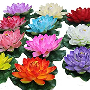 Flyusa 1 Pcs Diameter 6.69 Inch Floating Foam Lotus Water Lily Pond Decor Artificial Pond Plants Flower 77