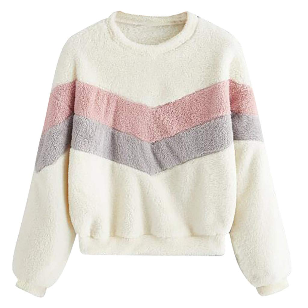 ❤️ Flame-mignons ❤️ Women Cowl Neck Drawstring Sweatshirts Striped Patchwork Casual Pullover Long Sleeve Tops White by ❤️ Flame-mignons ❤️