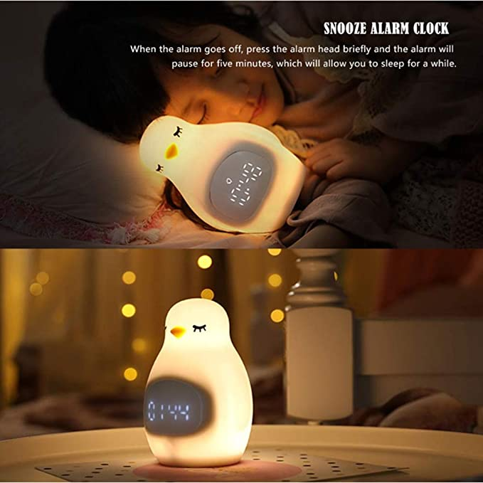 Lindo despertador de pingüino Despertador de luz Luz de ...
