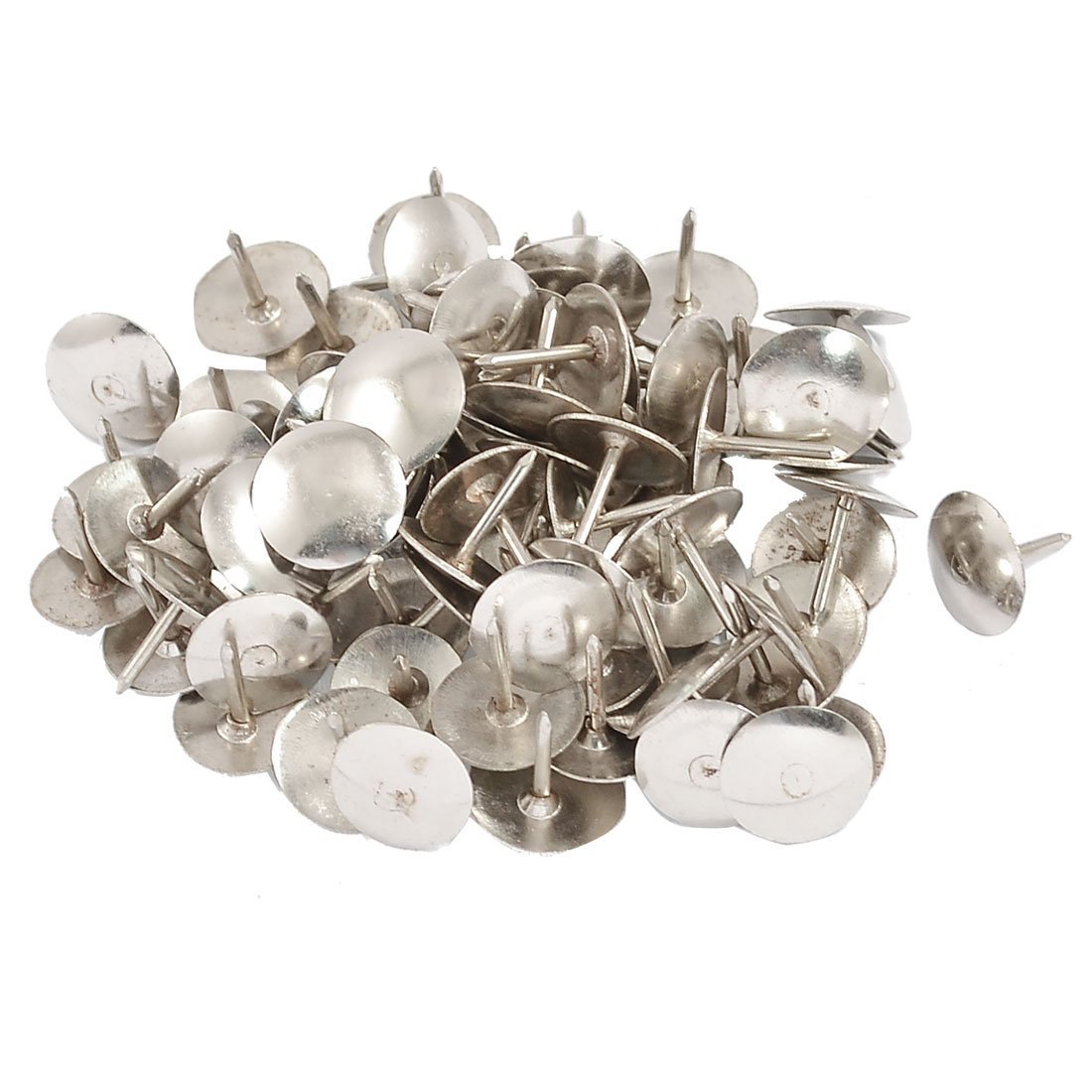 100 Pcs Silver Tone Notice Board Desk Thumb Tacks Pins uxcell a12051600ux0150