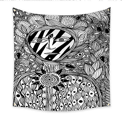 Anniutwo Tapestry Art Flower Spirit Coloring Page for Adults Fantasy Ink Graphic Art Vector Illustration Living Room Bedroom Dorm Decor 32W x 32L -