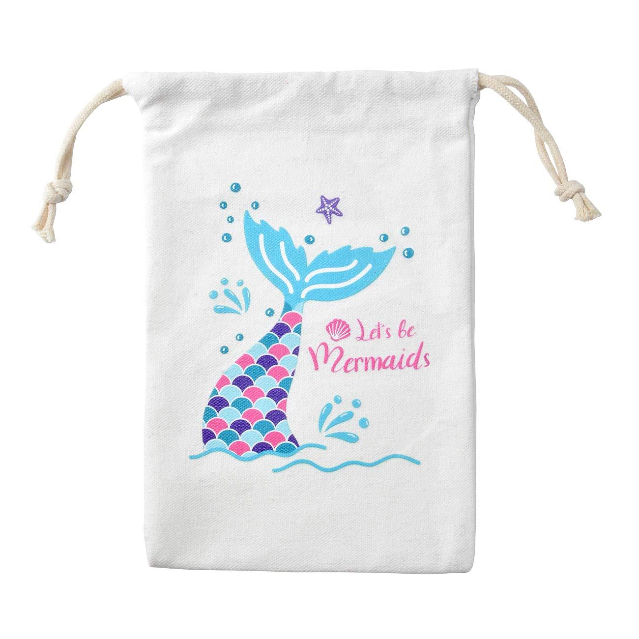 KREATWOW Mermaid Party Favor Bags Drawstring Goody Bags for Kid Mermaid Party Supplies 10 Pack