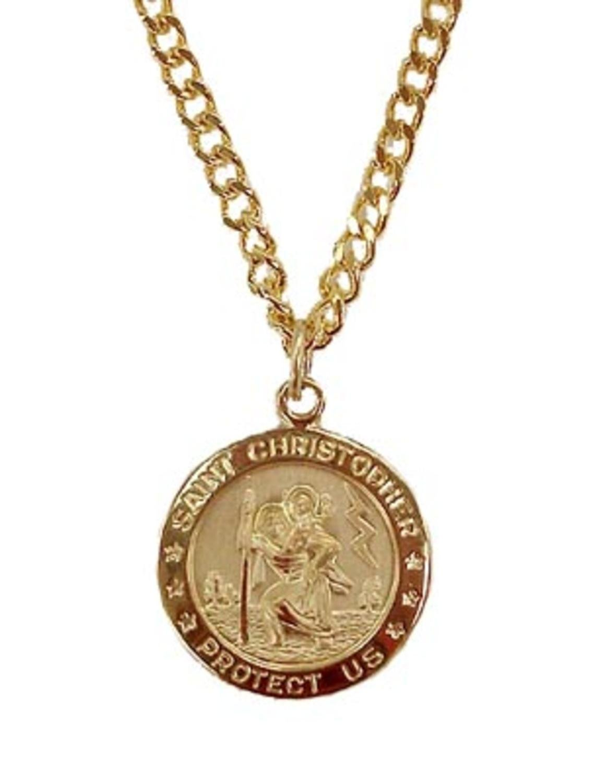 Gold Religious Saint Christopher Pendant Necklace 24'' by Roman