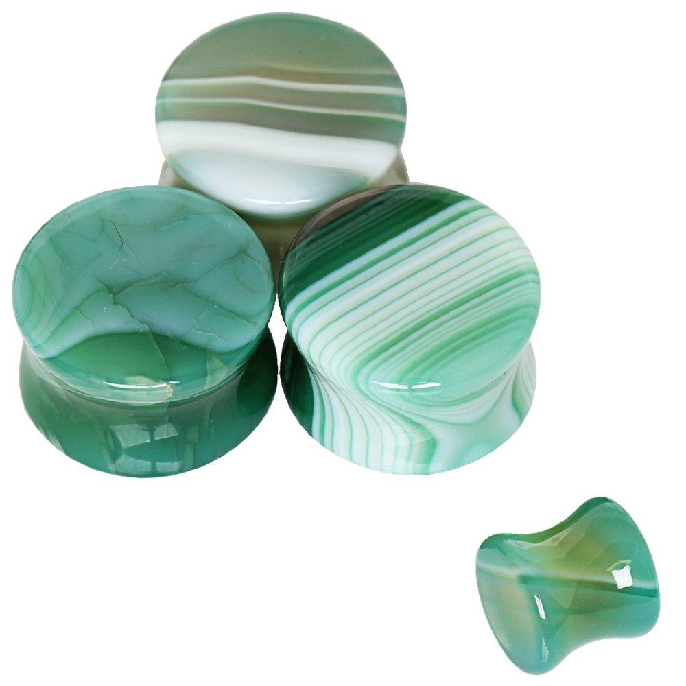 Pair of Natural Green Agate Stone Saddle Plug //// Choose Size ////