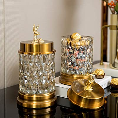 Kuku Get European Luxury Candy Jar Storage Tank and Practical Living Room Coffee Table Wine Cabinet American Glass Ornaments Home Decoration 2 Pieces 11 24cm Day: Home & Kitchen