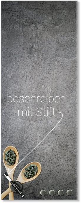Schreibtafel Holzl/öffel GRAZDesign Notiztafel K/üche Schiefer Magnettafel Glas Gew/ürze // 30x80cm Magnettafel Glas K/üche grau