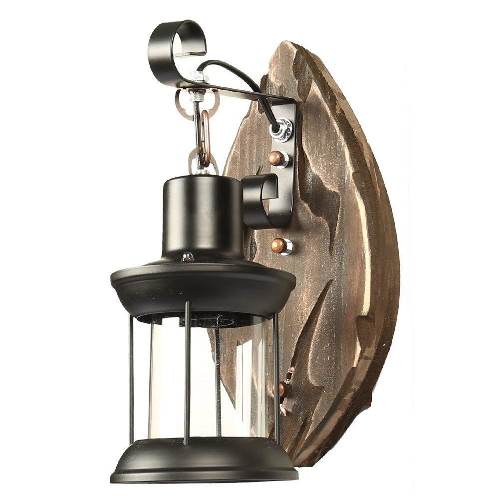 Vintage Industrielle Wandleuchte Edison Lampe Retro Loft Wandleuchten Leichtes Metall Schwarz Altes Stiefel Holz für Hausbar Restaurants Café Loft E27 Basis (110-240 V, Glühbirne nicht inbegriffen)