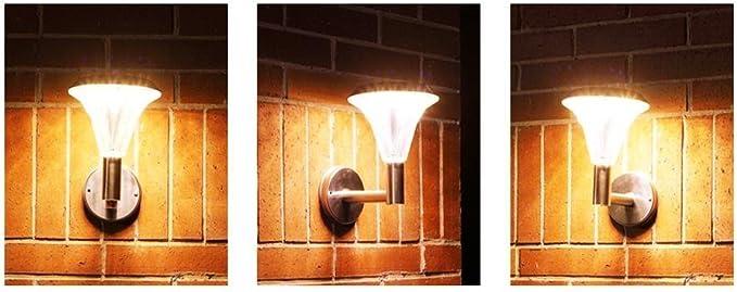 Lámpara de pared solar paisaje jardín luz exterior europea decoración LED acero inoxidable iluminación calle luz: Amazon.es: Iluminación