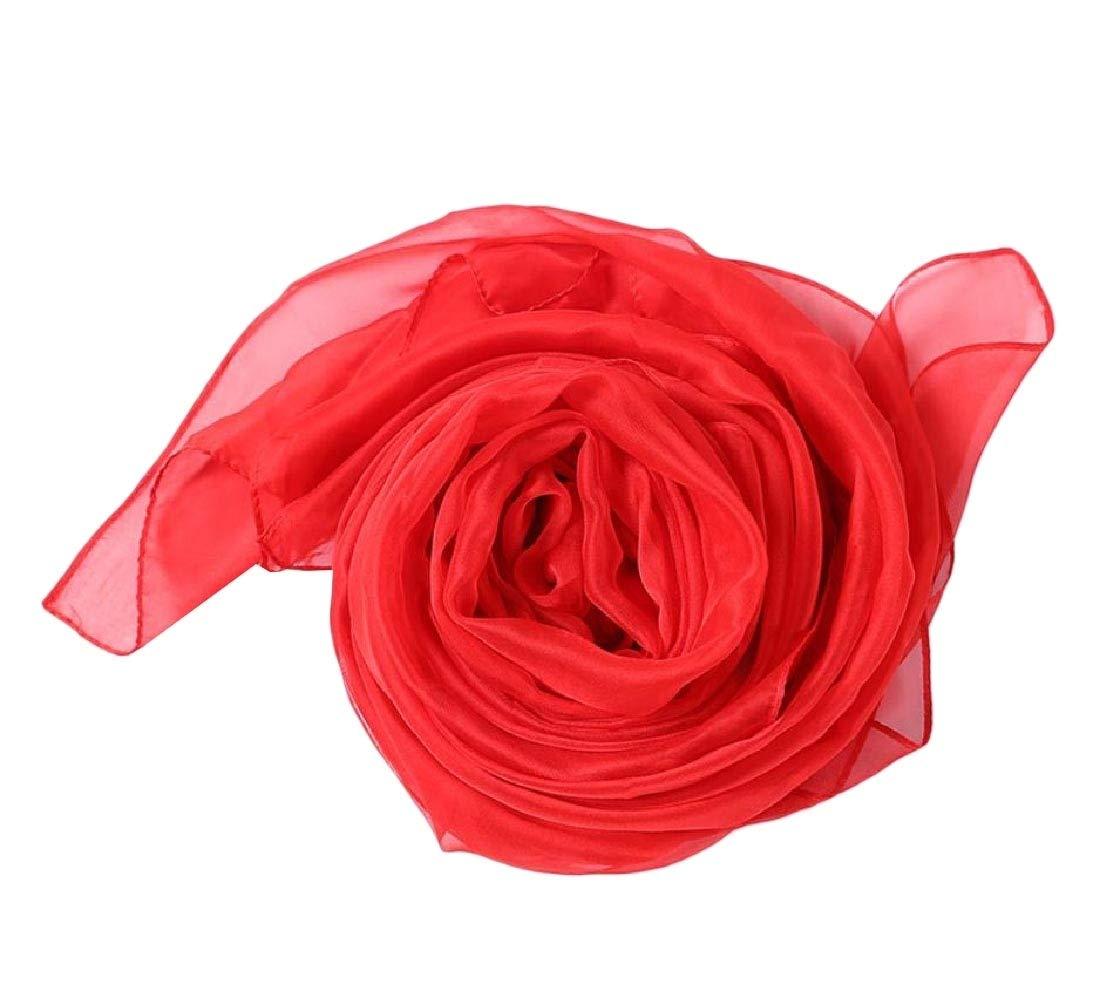 Zimase Women Thin Solid Chiffon Headscarf Longline Reversible Neck Scarf Sky Blue OS