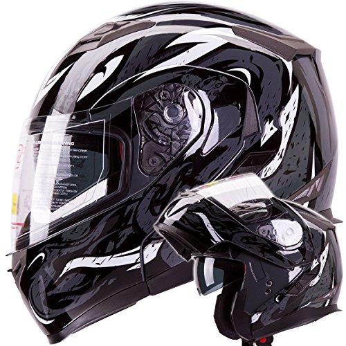 Modular Dual Visor Motorcycle / Snowmobile Helmet Flip-Up DOT Approved (IV-2 Model #953) High Performance (X-Large, Gloss Black / Black Viper Design)