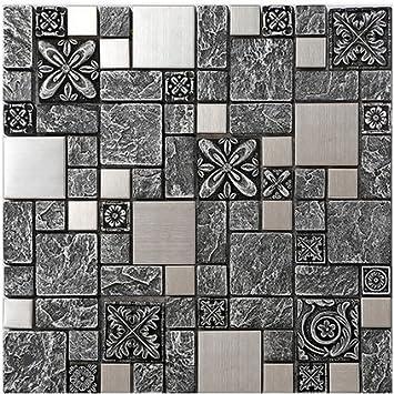 Rustikale Graue Harz Mix Metall Fliesen Design, Edelstahl Küche Backsplash  Wandfliesen, Vintage Metall Mosaik
