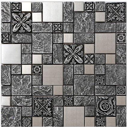 Elegante Gris Patrón Decoración de arte de pared Mosaico de resina ...