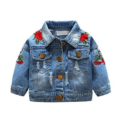 Loveble Veste bébé Fille déchirée Veste Jean brodée Floral Denim Outerwear  1-5 Ans d2e1832b78e