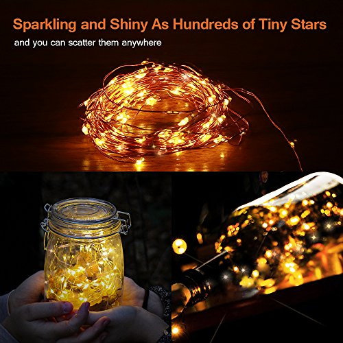 One Starry Christmas Reviews - Starry String Lights, Solar Powered String Lights, 33ft 100 LED Copper Wire Lights, Indoor/ Outdoor Waterproof Solar Decoration Lights for Gardens, Home, Dancing, Party Decorative Ornaments Golden