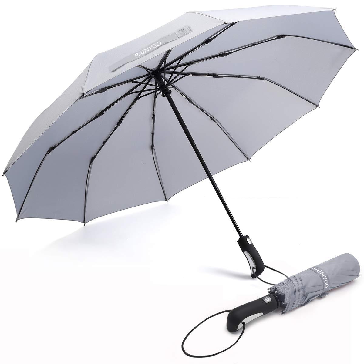 rainygo Umbrellas旅行折りたたみ自動傘強力な防風コンパクト210t 10リブライト重量Auto Open Close  グレー B07MKNFBG9